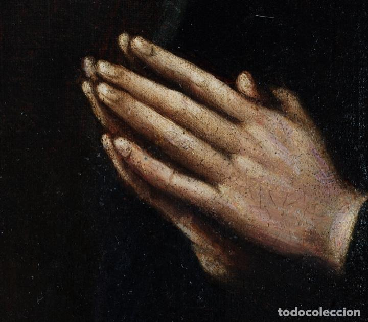 Arte: Óleo lienzo San Felipe Neri Escuela toledana siglo XVII círculo de Juan Sanchez Cotán - Foto 9 - 215944275