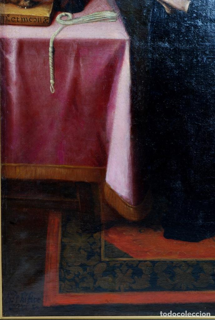 Arte: Óleo lienzo San Felipe Neri Escuela toledana siglo XVII círculo de Juan Sanchez Cotán - Foto 10 - 215944275