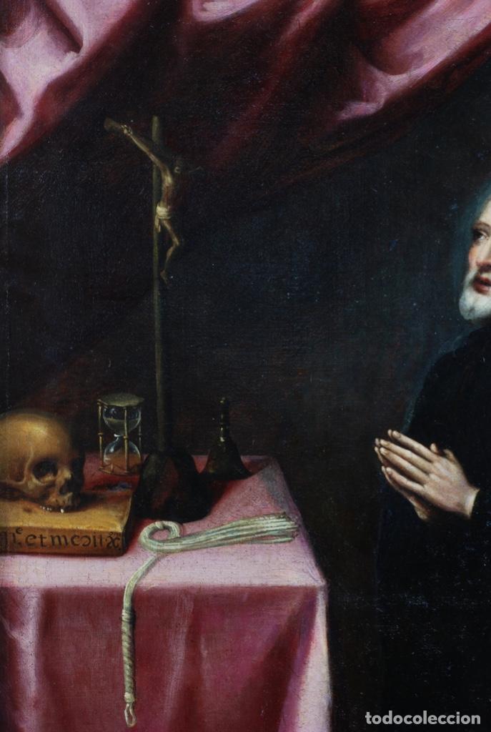 Arte: Óleo lienzo San Felipe Neri Escuela toledana siglo XVII círculo de Juan Sanchez Cotán - Foto 11 - 215944275