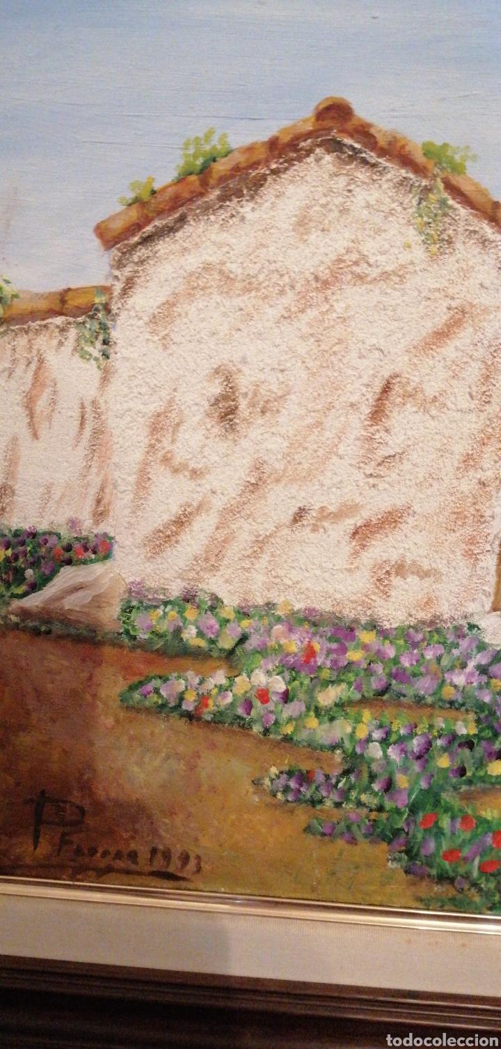 Arte: PRECIOSO LIENZO DE CASERÍO ANTIGUO CON PUERTA DE MADERA CON FIRMA DE AUT - Foto 2 - 215953665