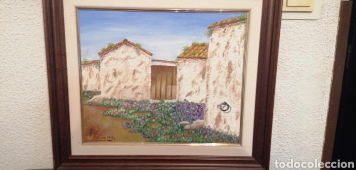 PRECIOSO LIENZO DE CASERÍO ANTIGUO CON PUERTA DE MADERA CON FIRMA DE AUT (Arte - Pintura Directa del Autor)