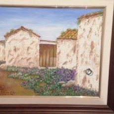 Arte: PRECIOSO LIENZO DE CASERÍO ANTIGUO CON PUERTA DE MADERA CON FIRMA DE AUT. Lote 215953665