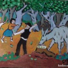 Arte: PLATERO:LAS BREVAS, ÓLEO SOBRE MADERA 30X40 CM.DE CRESPO. Lote 215956962