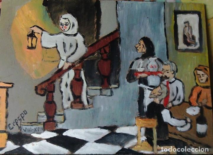 PLATERO:LA FANTASMA, ÓLEO SOBRE MADERA DE 30X40 CM. DE CRESPO (Arte - Pintura - Pintura al Óleo Contemporánea )