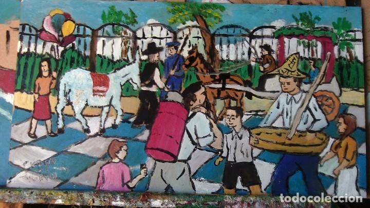 PLATERO:EL VERGEL ,ÓLEO SOBRE MADERA DE 20X45CM.(APROX.)DE CRESPO (Arte - Pintura - Pintura al Óleo Contemporánea )