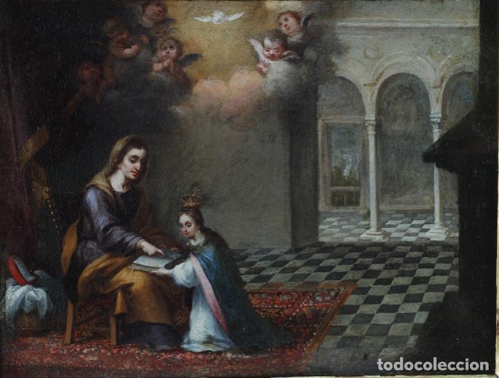 Arte: Óleo lienzo La educación de la Virgen Matías de Arteaga Sevilla siglo XVII - Foto 2 - 216005421