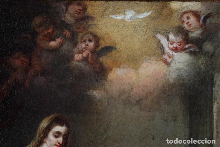 Arte: Óleo lienzo La educación de la Virgen Matías de Arteaga Sevilla siglo XVII - Foto 3 - 216005421