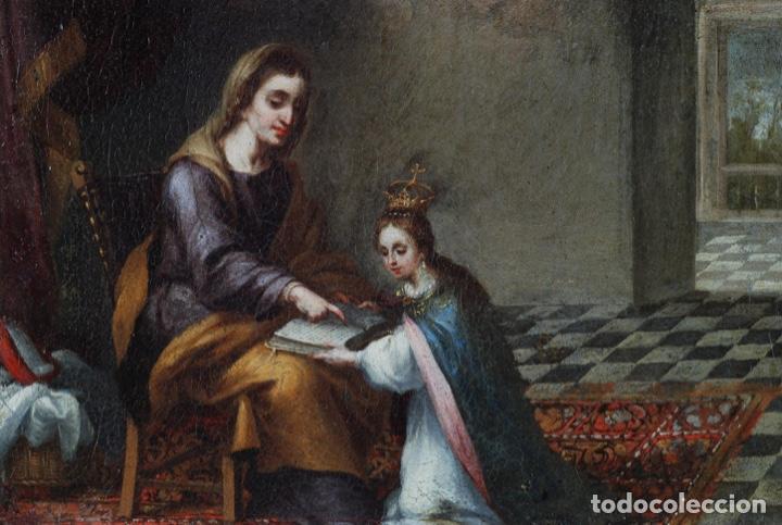 Arte: Óleo lienzo La educación de la Virgen Matías de Arteaga Sevilla siglo XVII - Foto 6 - 216005421