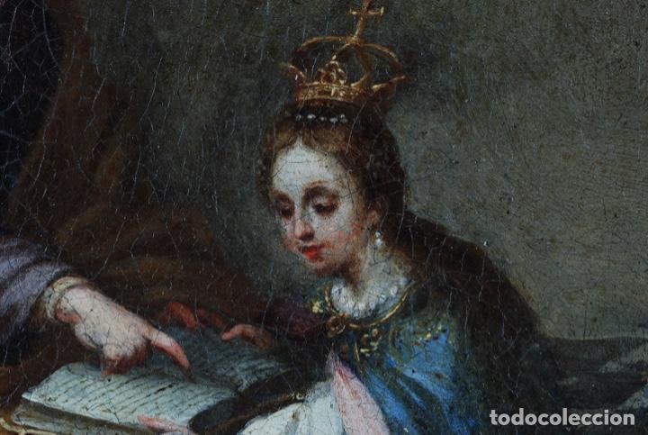 Arte: Óleo lienzo La educación de la Virgen Matías de Arteaga Sevilla siglo XVII - Foto 7 - 216005421