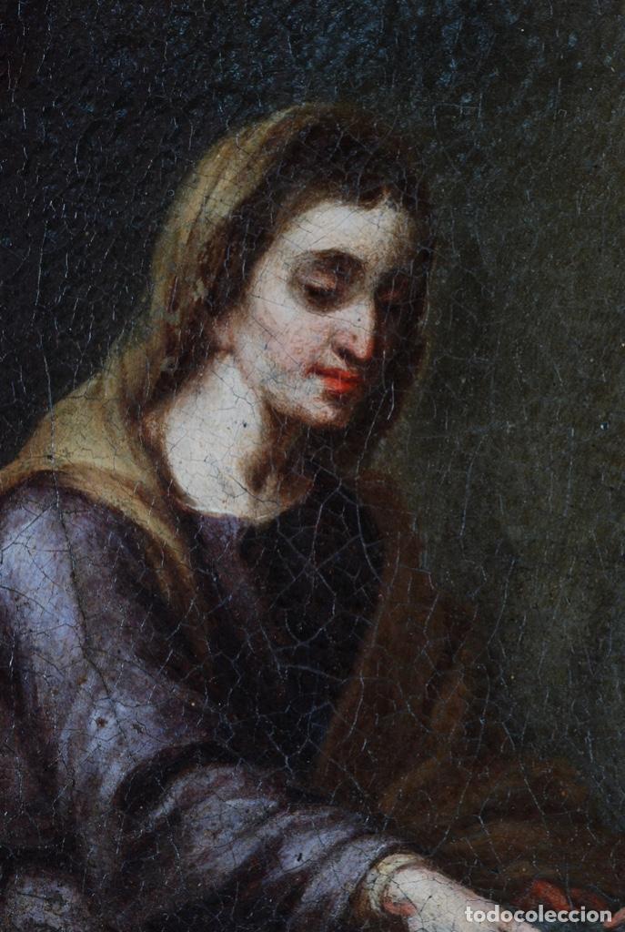 Arte: Óleo lienzo La educación de la Virgen Matías de Arteaga Sevilla siglo XVII - Foto 8 - 216005421