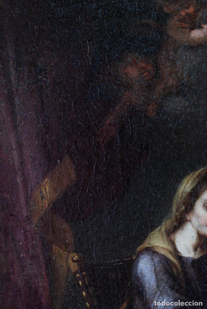 Arte: Óleo lienzo La educación de la Virgen Matías de Arteaga Sevilla siglo XVII - Foto 9 - 216005421