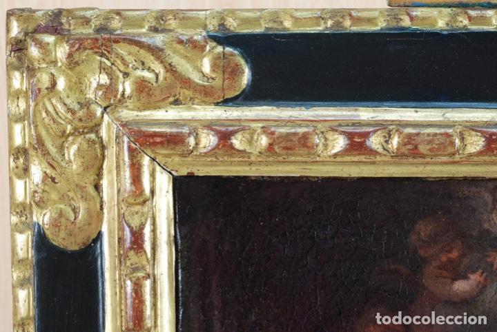 Arte: Óleo lienzo La educación de la Virgen Matías de Arteaga Sevilla siglo XVII - Foto 10 - 216005421