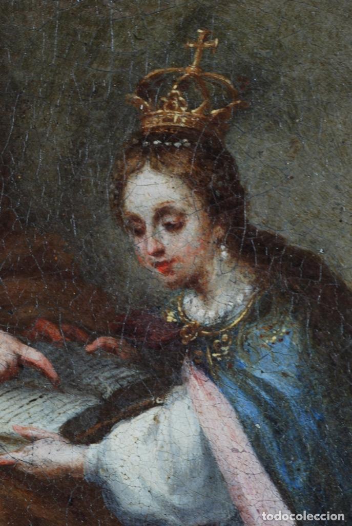 Arte: Óleo lienzo La educación de la Virgen Matías de Arteaga Sevilla siglo XVII - Foto 11 - 216005421