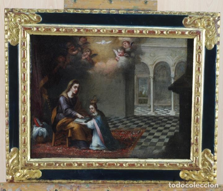 ÓLEO LIENZO LA EDUCACIÓN DE LA VIRGEN MATÍAS DE ARTEAGA SEVILLA SIGLO XVII (Arte - Pintura - Pintura al Óleo Antigua siglo XVII)
