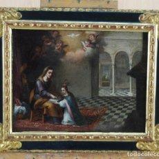 Arte: ÓLEO LIENZO LA EDUCACIÓN DE LA VIRGEN MATÍAS DE ARTEAGA SEVILLA SIGLO XVII. Lote 216005421