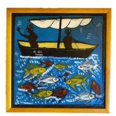 Arte: CUADRO NAIF, PESCADORES , CON FIRMA, ZANZIBAR, 48 X 48 X 2. Lote 216354312