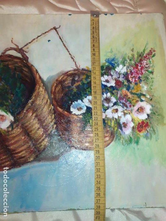 Arte: ÓLEO SOBRE LIENZO BODEGÓN FLORES FIRMADO R BUENA? BUENO? CANASTILLAS CESTAS PRECIOSO SIN MARCO - Foto 7 - 216524412