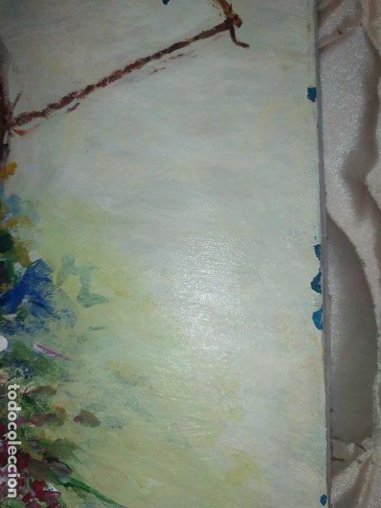 Arte: ÓLEO SOBRE LIENZO BODEGÓN FLORES FIRMADO R BUENA? BUENO? CANASTILLAS CESTAS PRECIOSO SIN MARCO - Foto 8 - 216524412