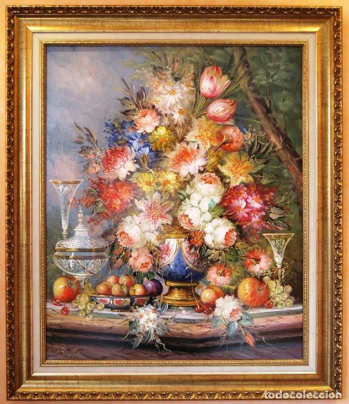 ROBERTO MICHEL - BARCELONA 1.944 ÓLEO SOBRE LIENZO - NATURALEZA MUERTA GRAN FORMATO (Arte - Pintura - Pintura al Óleo Contemporánea )