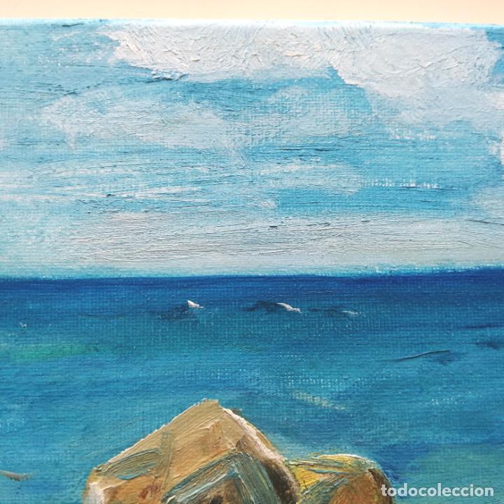 Arte: Cuadro pintura óleo sobre tela, marina, firmado. - Foto 4 - 216776796