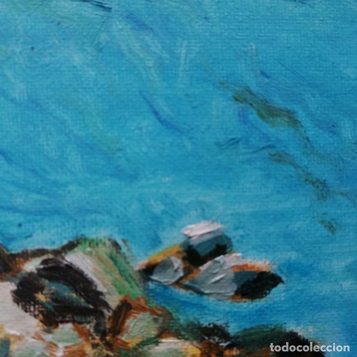 Arte: Cuadro pintura óleo sobre tela, marina, firmado. - Foto 5 - 216776796