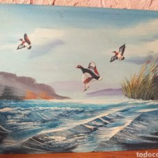 Arte: BONITA PINTURA EN MADERA O FULLOLA ,PATOS. Lote 216847680