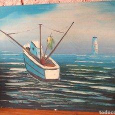 Arte: BONITA PINTURA BARCO EN MADERA O FULLOLA. Lote 216848752