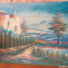 Arte: BONITA PINTURA CASA Y MAR ,EN MADERA Y FULLOLA. Lote 216849293