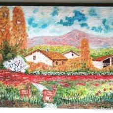 Arte: VALLS RIBES, CUADRO PINTURA ÓLEO, PAISAJE CON CIERVOS.. Lote 48385607