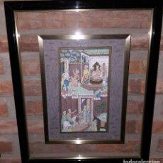 Arte: CUADRO PINTADO A MANO CON ESCENA DE LA INDIA. Lote 217100953