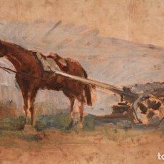 Arte: J. CUSACHS. OLEO SOBRE CARTÓN DE GRANDES MEDIDAS. ESCENA CON UN MILITAR. Lote 217166611