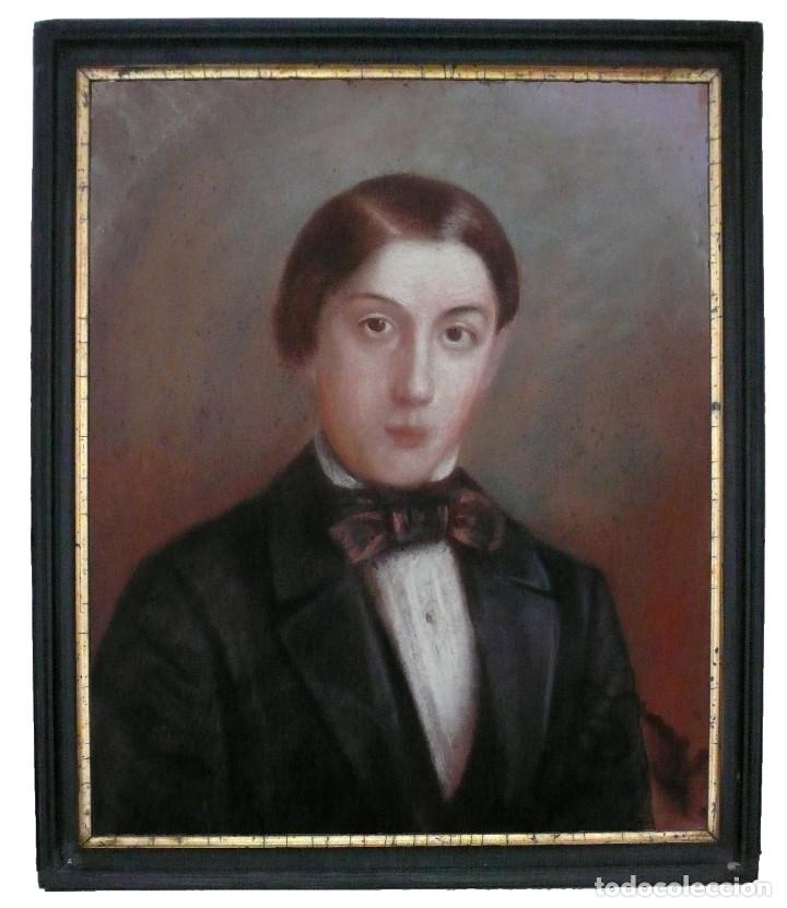 PORTRAIT PASTEL XIX YOUNG MAN BOY RETRATO ESCUELA ESPAÑOLA CATALANA HOMBRE CHICO JOVEN (Arte - Pintura - Pintura al Óleo Moderna siglo XIX)