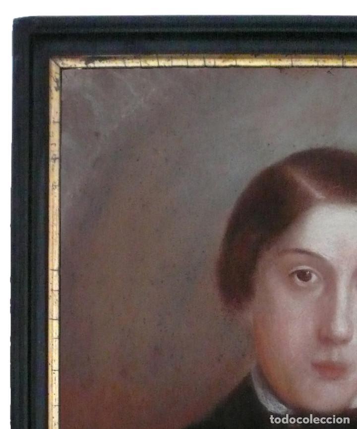 Arte: PORTRAIT PASTEL XIX YOUNG MAN BOY RETRATO ESCUELA ESPAÑOLA CATALANA HOMBRE CHICO JOVEN - Foto 3 - 217168932