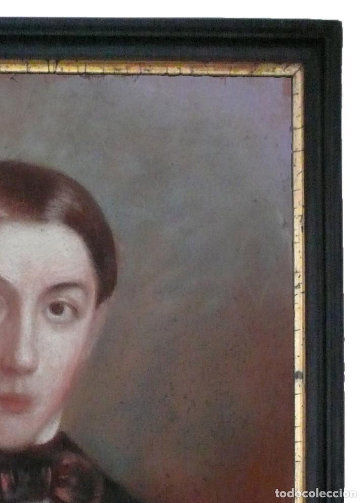 Arte: PORTRAIT PASTEL XIX YOUNG MAN BOY RETRATO ESCUELA ESPAÑOLA CATALANA HOMBRE CHICO JOVEN - Foto 4 - 217168932