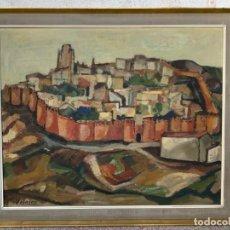 Arte: OLEO LIENZO VISTA DE AVILA MURALLAS PINTOR VELASCO COLORES VIVOS FIRMA AÑOS 50 60 96X114,5CMS. Lote 217224108