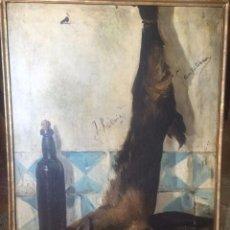 Arte: BODEGÓN DE CABRITILLAS, CERÁMICA Y BOTELLA A MODO DE TRAMPANTOJO - SOBRE LIENZO DE FF. S. XVIII. Lote 217243285