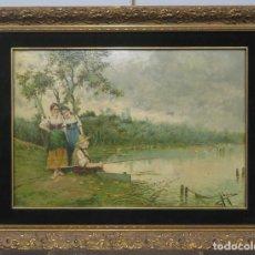 Arte: JOVENES CON ANCIANO PESCANDO. OLEO S/ CARTONE. JUAN EGEA Y MARIN (MURCIA 1860-?). Lote 217382878