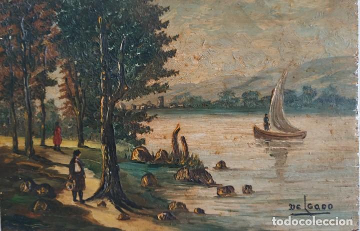 PAISAJE RIBEREÑO. PINTOR ESPAÑOL DELGADO. (Arte - Pintura - Pintura al Óleo Moderna siglo XIX)
