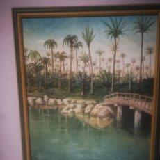 Arte: OLEO SOBRE LIENZO, EL PALMERAL, FIRMADO. RAQUEL DEL RIO. ENMARCADO 52X68CM. Lote 217476132