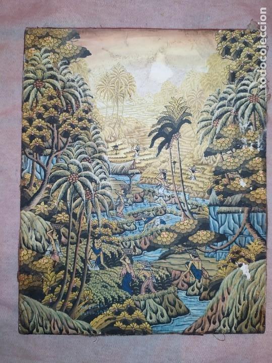 MD BAWA KUTUH SAYAN OLEO SOBRE LIENZO ESCENA PAISAJE BALINÉS INDONESIA BALINESA MUJERES LAGO BOSQUE (Arte - Pintura - Pintura al Óleo Moderna sin fecha definida)