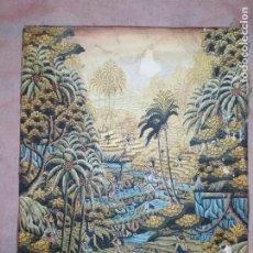 Arte: MD BAWA KUTUH SAYAN OLEO SOBRE LIENZO ESCENA PAISAJE BALINÉS INDONESIA BALINESA MUJERES LAGO BOSQUE. Lote 217489667