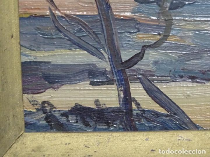 Arte: Excelente óleo sobre cartón de firma ilegible.maestro. - Foto 11 - 217491852