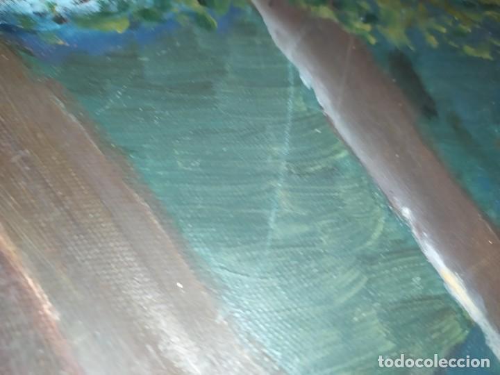 Arte: ÓLEO SOBRE LIENZO FIRMADO C. GOMEZ ? G. GOMEZ ? PAISAJE MONTAÑA LAGO PRECIOSO - Foto 9 - 217536280