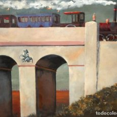 Arte: PABLO MAÑE GARZON (MONTEVIDEO, 1921 - BARCELONA, 2004) OLEO SOBRE TELA. PAISAJE CON PUENTE. Lote 217539987