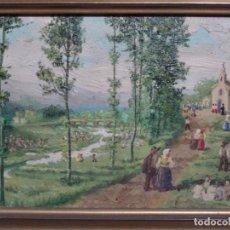 Arte: ÓLEO SOBRE TABLA ANÓNIMO. GRAN CALIDAD. ROMERÍA.. Lote 217571316