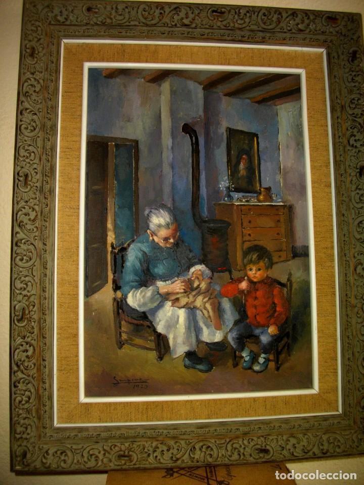 RAFAEL SEMPERE 1926 TIBI - 2009 VALENCIA ( OLEO SOBRE TABLILLA MADERA) 57 X 48 CTMS MARCO (Arte - Pintura - Pintura al Óleo Contemporánea )