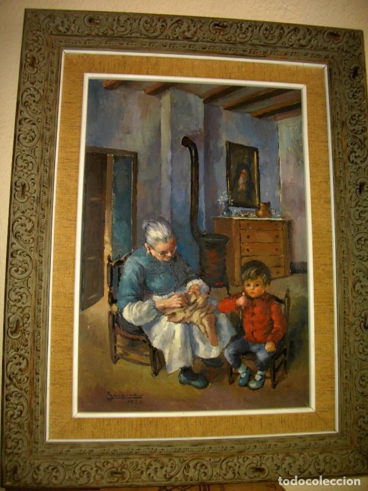 Arte: RAFAEL SEMPERE 1926 TIBI - 2009 VALENCIA ( OLEO SOBRE TABLILLA MADERA) 57 X 48 CTMS MARCO - Foto 2 - 217626368