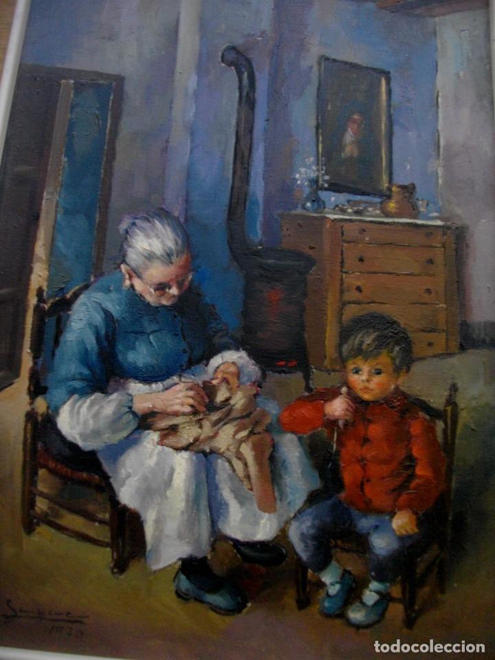 Arte: RAFAEL SEMPERE 1926 TIBI - 2009 VALENCIA ( OLEO SOBRE TABLILLA MADERA) 57 X 48 CTMS MARCO - Foto 5 - 217626368