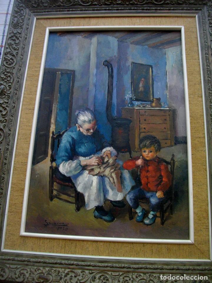 Arte: RAFAEL SEMPERE 1926 TIBI - 2009 VALENCIA ( OLEO SOBRE TABLILLA MADERA) 57 X 48 CTMS MARCO - Foto 6 - 217626368