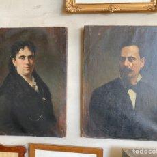 Arte: PAREJA DE RETRATOS DAMA Y CABALLERO. GONZÁLVEZ Y MARTÍNEZ, JOSÉ. Lote 217685381